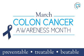 colon cancer awareness month logo with blue ribbon