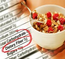 dietary fiber label next to a bowel of cereal