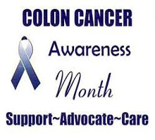 2017 Colon Cancer Awareness Month with blue ribbon