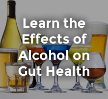 learn the effects of alcohol on gut health overlay text with various alcoholic beverages in background
