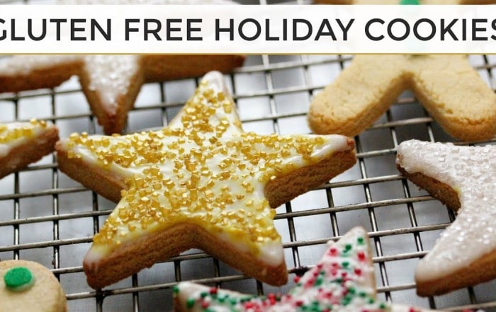 gluten free holiday cookie assortment on baking tray