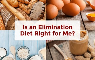 elimination diet image with foods that can trigger digestive symptoms like gluten and dairy