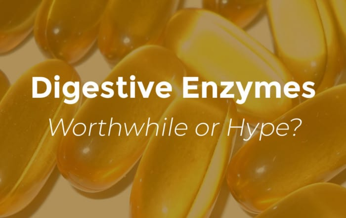 digestive enzymes worth while or hype with gold colored pills background